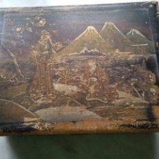 Antigüedades: ANTIGUA CAJA DE JAPÓN, JOYERO, TOCADOR O COSTURERO DE MADERA PINTADA A MANO. Lote 191261580
