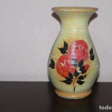 Antigüedades: ANTIGUO JARRÓN GRANDE DE BARRO PINTADO A MANO Y CRAQUELADO. Lote 191263050