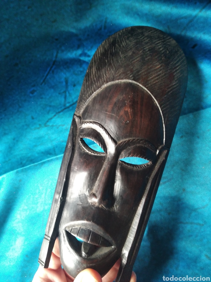 Antigüedades: Máscara africana madera ébano tallada / 10 x 22 x 3 cm - Foto 8 - 191266705