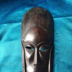 Antigüedades: MÁSCARA AFRICANA MADERA ÉBANO TALLADA / 10 X 22 X 3 CM. Lote 191266705