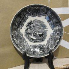 Antigüedades: PLATO ANTIGUO ESCENA DE CAZA. FABRICA DE CARTAGENA 15,50 CM DIAMETRO. Lote 191275780