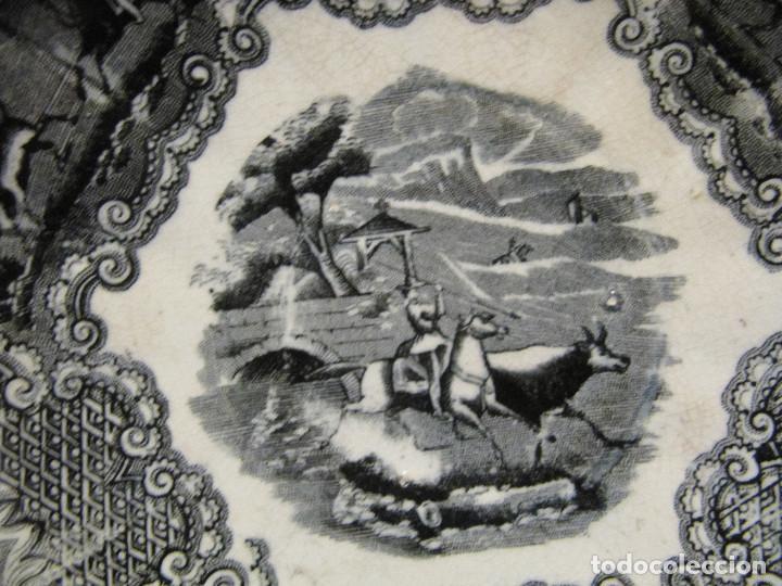 Antigüedades: PLATO ANTIGUO ESCENA DE CAZA. Fabrica de Cartagena 15,50 CM DIAMETRO - Foto 3 - 191275780