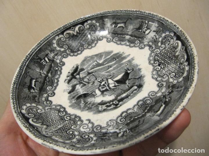 Antigüedades: PLATO ANTIGUO ESCENA DE CAZA. Fabrica de Cartagena 15,50 CM DIAMETRO - Foto 5 - 191275780