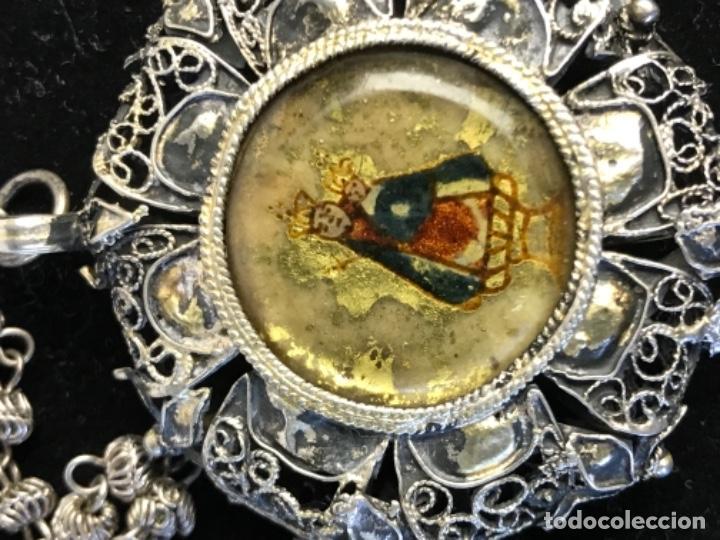 Antigüedades: MAGNIFICO RELICARIO DEVOCIONARIO FILIGRANA PLATA SANTA FAZ Y VIRGEN CON NIÑO SG XVIII - Foto 4 - 191296673