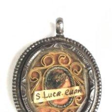 Antiquités: FANTÁSTICO RELICARIO A DOS CARAS LIGNUM CRUCIS Y RELIQUIA S.LUCRECIA SG XVIII. Lote 191301321