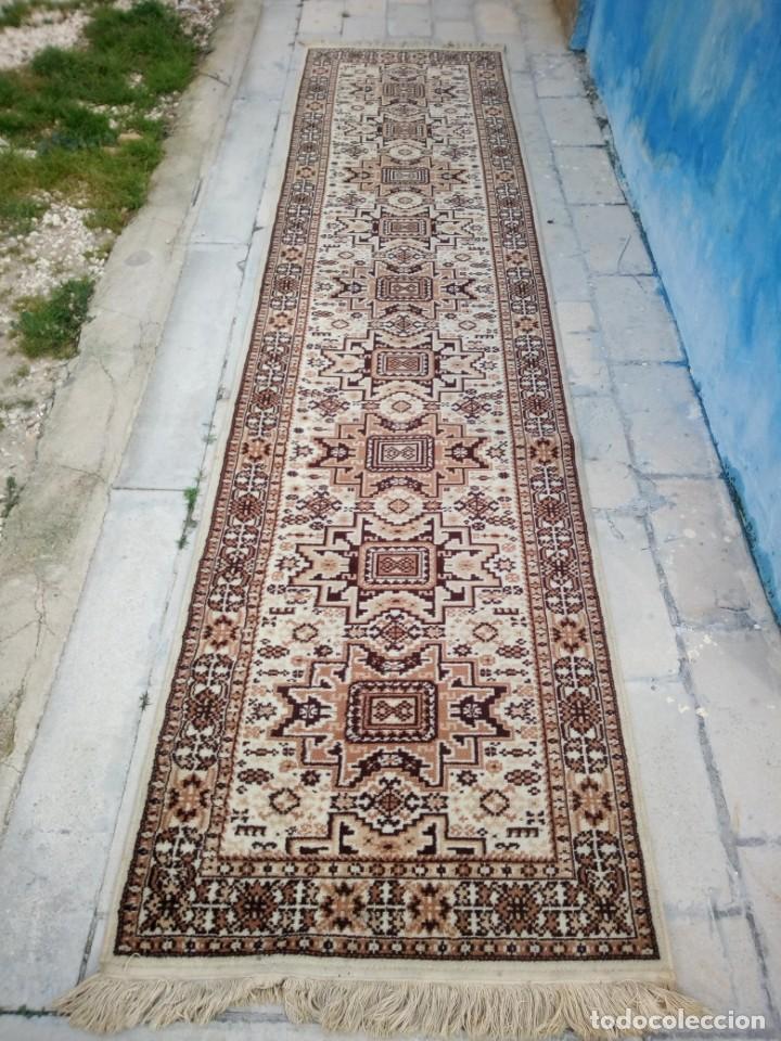 Antigüedades: Preciosa alfombra de pasillo de lana,tonos beig y marron,industrial. - Foto 2 - 191308416