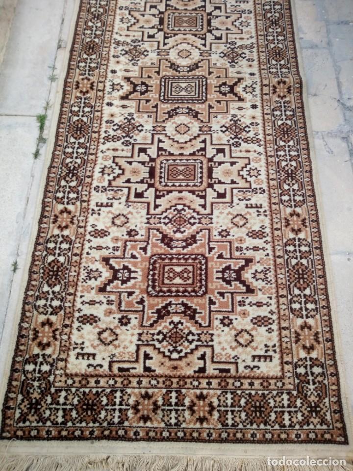 Antigüedades: Preciosa alfombra de pasillo de lana,tonos beig y marron,industrial. - Foto 3 - 191308416