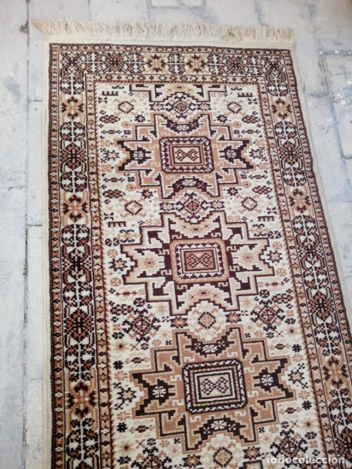 Antigüedades: Preciosa alfombra de pasillo de lana,tonos beig y marron,industrial. - Foto 4 - 191308416