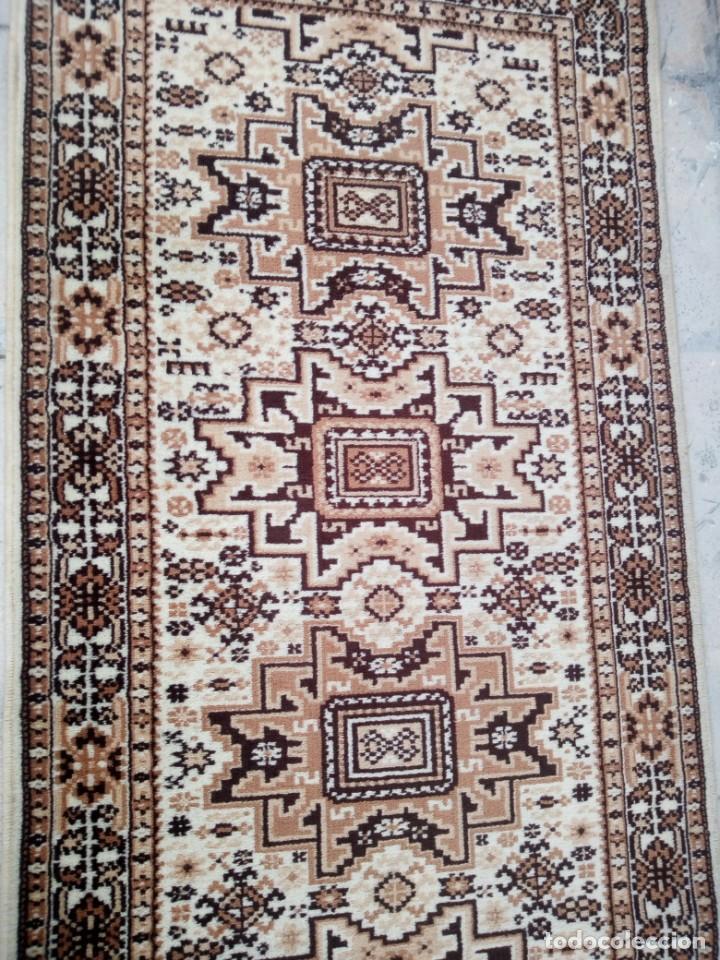 Antigüedades: Preciosa alfombra de pasillo de lana,tonos beig y marron,industrial. - Foto 5 - 191308416