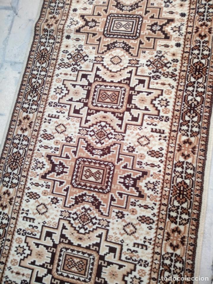 Antigüedades: Preciosa alfombra de pasillo de lana,tonos beig y marron,industrial. - Foto 6 - 191308416