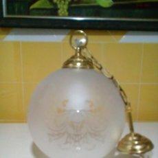 Antigüedades: BONITA LAMPARA DE TECHO DE CRISTAL GRABADO AL ACIDO. Lote 191309190