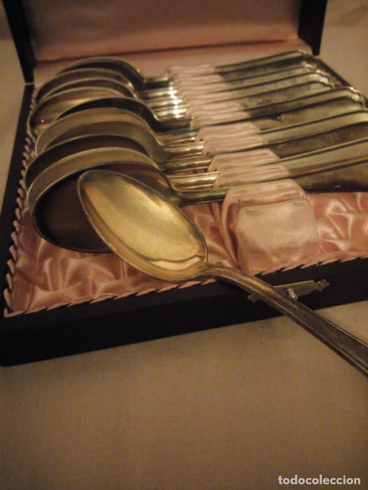 Antigüedades: Antiguo conjunto de 12 cucharillas de téoka 90-21 bañadas en plata, m.matthey chesi le locle,en caja - Foto 5 - 191312043