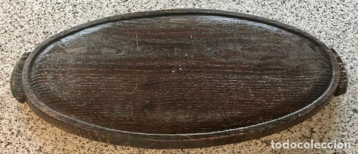 Antigüedades: BANDEJA OVALADA DE MADERA 66x29m CENTRO MESA FRUTAS PLATO VINTAGE - Foto 3 - 191316525
