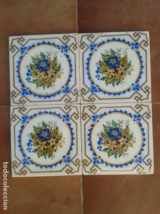 AZ-33A 4 AZULEJOS MODERNISTAS ANTIGUOS (Antigüedades - Porcelanas y Cerámicas - Azulejos)