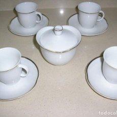 Antigüedades: JUEGO DE CAFE CON FILO DE ORO. Lote 191332113