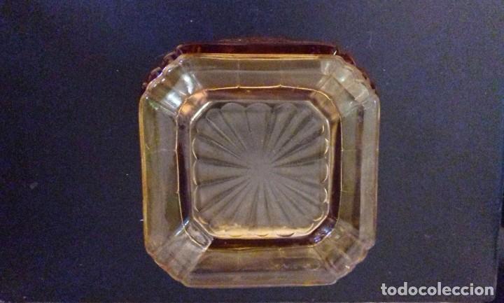 Antigüedades: Art Deco bote de cristal/bombonera ambar inglesa Caja de Pandora - Foto 4 - 191345675