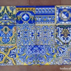 Antigüedades: PV-1 12 AZULEJOS ANTIGUOS AZUL MESA CUADRO CABECERO. Lote 191351437