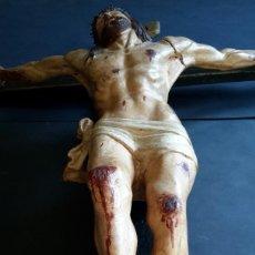 Antigüedades: EXCEPCIONAL JESUCRISTO DE MADERA POLICROMADA. Lote 191373506