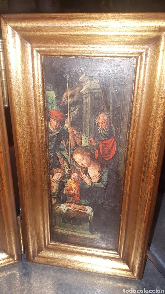 Antigüedades: Bonito retablo tríptico religioso - Foto 4 - 191380333