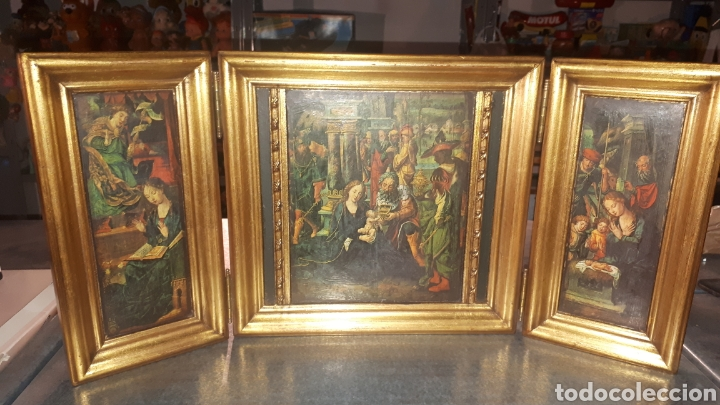 BONITO RETABLO TRÍPTICO RELIGIOSO (Antigüedades - Religiosas - Ornamentos Antiguos)