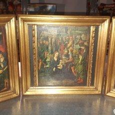 Antigüedades: BONITO RETABLO TRÍPTICO RELIGIOSO. Lote 191380333