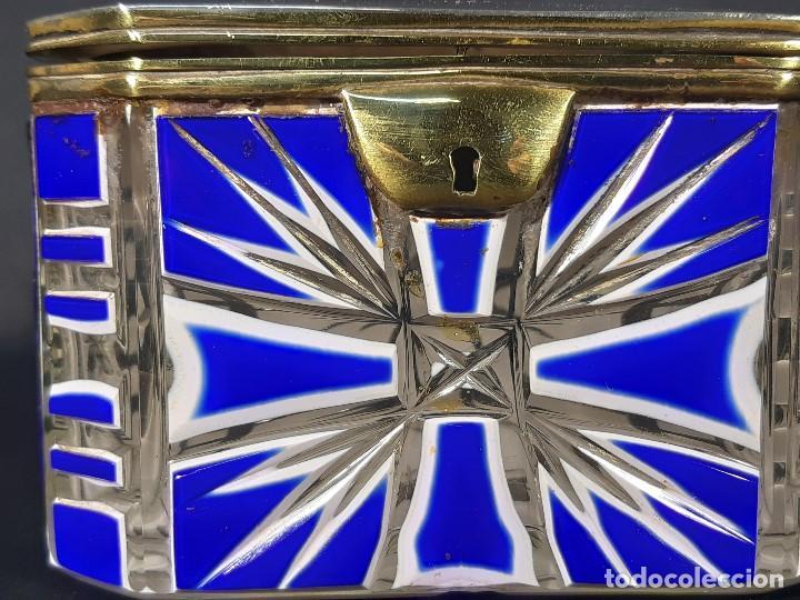 Antigüedades: Caja cristal. Bohemia. Siglo XIX. - Foto 3 - 191408723