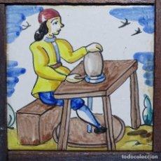 Antigüedades: ANTIGUO AZULEJO DE TRABAJOS ENMARCADO.. Lote 191416797