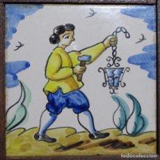 Antigüedades: ANTIGUO AZULEJO DE TRABAJOS ENMARCADO.. Lote 191416990