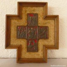 Antigüedades: MODEST MORATÓ - CRUZ DE BRONCE ESMALTADA - ESCENAS BIBLICAS.. Lote 191449330