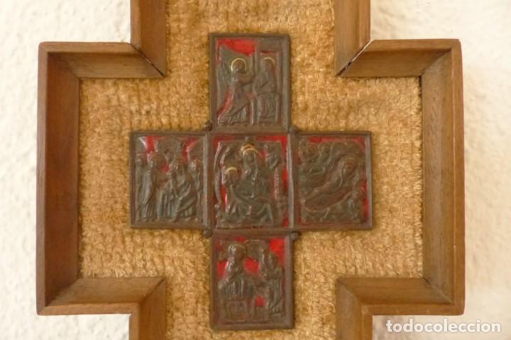Antigüedades: MODEST MORATÓ - CRUZ DE BRONCE ESMALTADA - ESCENAS BIBLICAS. - Foto 2 - 191449330