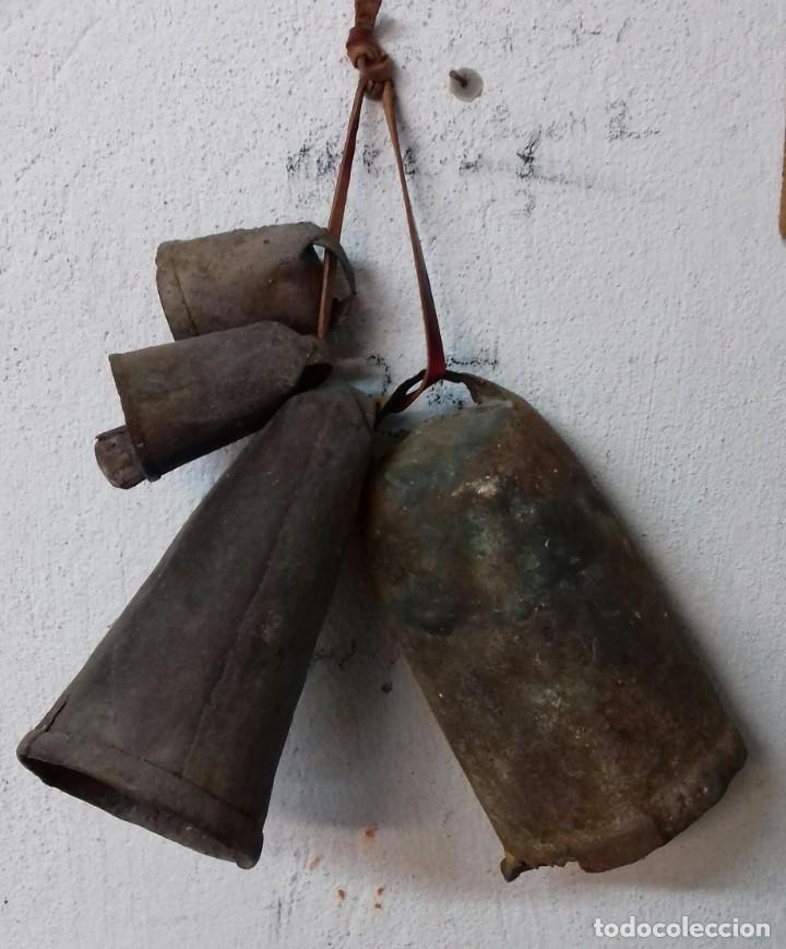 Antigüedades: Lote de cuatro cencerros. - Foto 2 - 191460970