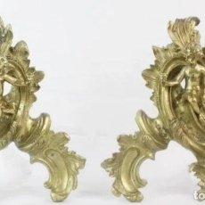 Antigüedades: PRECIOSA PAREJA DE ADORNOS EN BRONCE DORADO. S XVIII. ADORNOS DE PARED, ANGELES CHERUBS. Lote 181701256