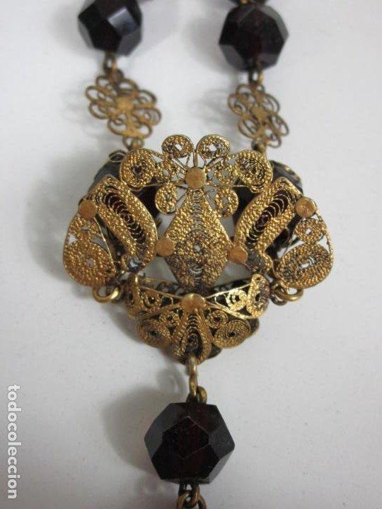 Antigüedades: Bonito Rosario Isabelino - Cuentas en Azabache . Filigranas de Plata Sobredorada - S. XIX - Foto 9 - 205887980