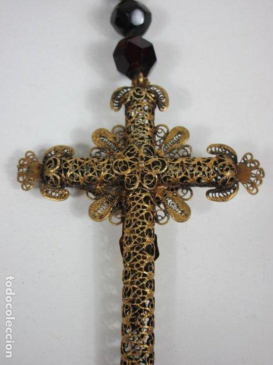 Antigüedades: Bonito Rosario Isabelino - Cuentas en Azabache . Filigranas de Plata Sobredorada - S. XIX - Foto 11 - 205887980
