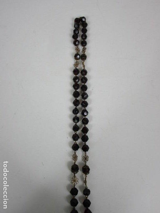 Antigüedades: Bonito Rosario Isabelino - Cuentas en Azabache . Filigranas de Plata Sobredorada - S. XIX - Foto 14 - 205887980