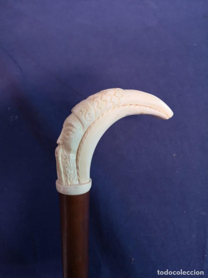 Antigüedades: BASTON CON CARA DE ASIATICO TALLADA - Foto 3 - 191508641