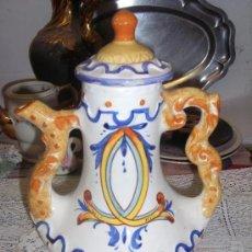 Antigüedades: PRECIOSO JARRON JARRA CON ASA, BELLAMENTE DECORADO. Lote 191511776