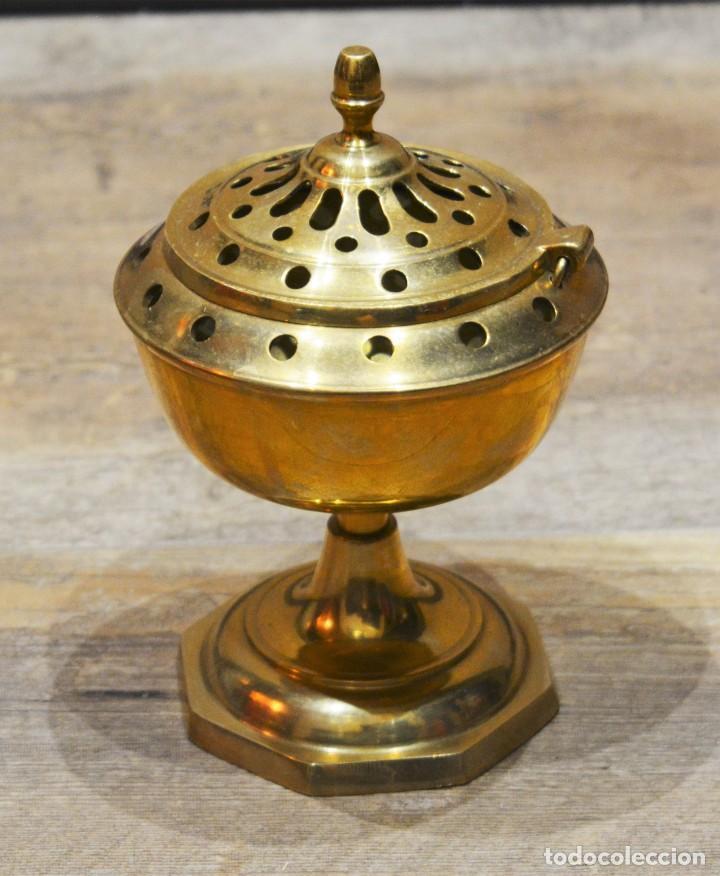 Antigüedades: PRECIOSO INCIENSARIO / QUEMADOR INCIENSO / LAMPARILLA PORTA VELAS EN BRONCE - Foto 3 - 191526471