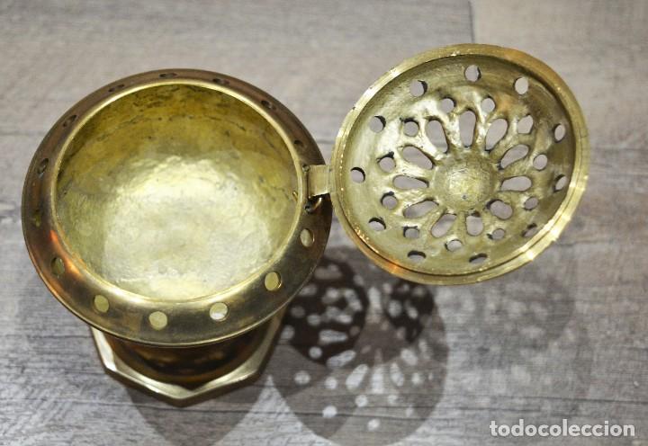 Antigüedades: PRECIOSO INCIENSARIO / QUEMADOR INCIENSO / LAMPARILLA PORTA VELAS EN BRONCE - Foto 6 - 191526471