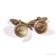 Antigüedades: GEMELOS DAMASQUINADOS CON GOLONDRINAS.. Lote 191531948