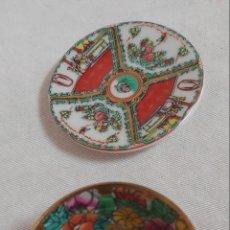 Antigüedades: MINI CUENCO Y MINI PLATO EN CERÁMICA CHINA. Lote 191583893