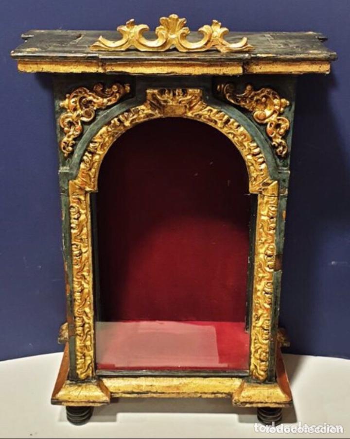 Antigüedades: ANTIGUA HORNACINA DEL SIGLO XVIII EN MADERA Y PAN DE ORO - Foto 2 - 191597273