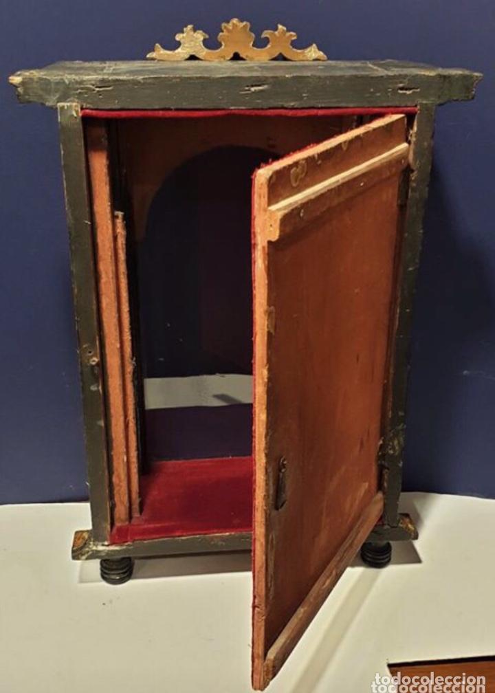 Antigüedades: ANTIGUA HORNACINA DEL SIGLO XVIII EN MADERA Y PAN DE ORO - Foto 8 - 191597273