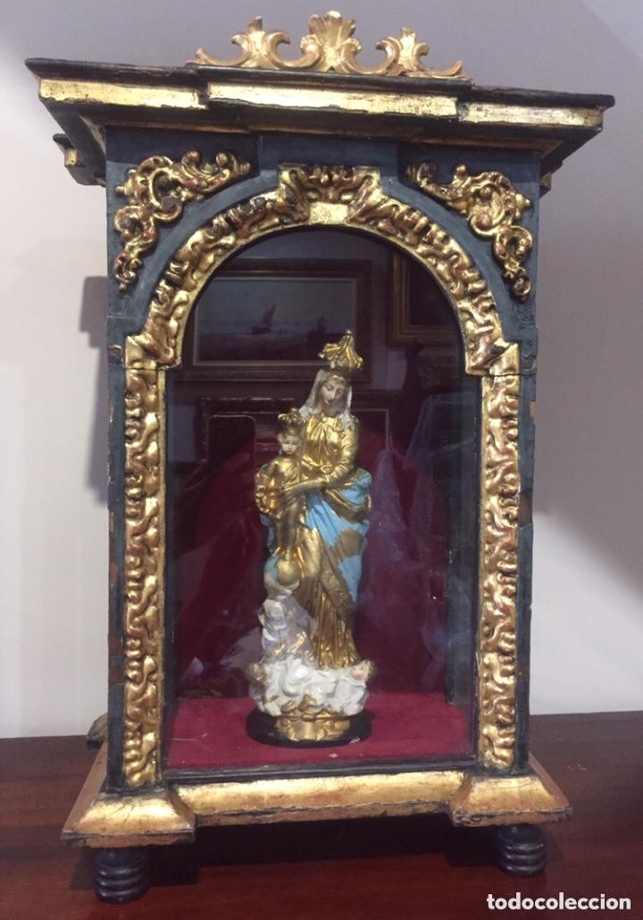 Antigüedades: ANTIGUA HORNACINA DEL SIGLO XVIII EN MADERA Y PAN DE ORO - Foto 9 - 191597273