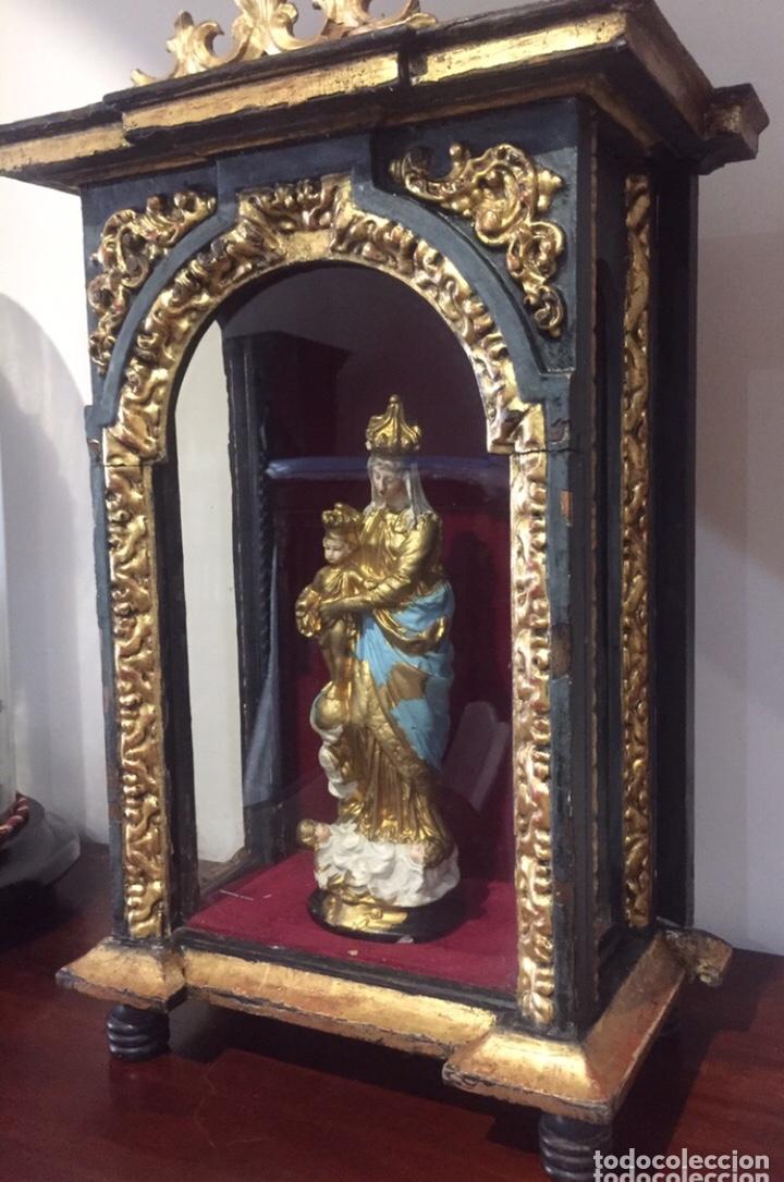 Antigüedades: ANTIGUA HORNACINA DEL SIGLO XVIII EN MADERA Y PAN DE ORO - Foto 11 - 191597273