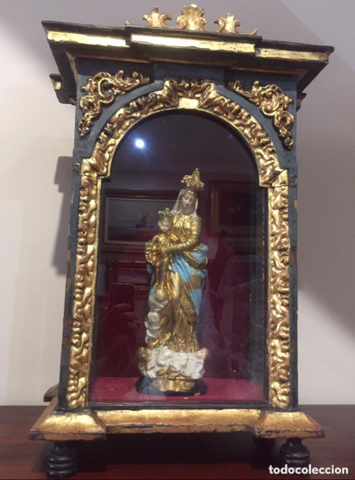 Antigüedades: ANTIGUA HORNACINA DEL SIGLO XVIII EN MADERA Y PAN DE ORO - Foto 12 - 191597273