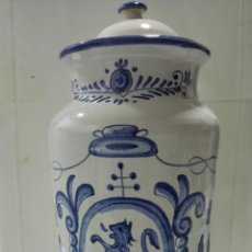Antigüedades: TARRO CERAMICA FARMACIA, CALBAS. P. P., ALTURA 37, DIAMETRO 15 CM. Lote 191600432