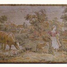 Antigüedades: ANTIGUO TAPIZ DE ESTILO GOBELINO, MEDIADOS SIGLO XIX, CON BASTIDOR ORIGINAL, 98 X 48 CM. ALTO VALOR. Lote 191602540