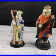 Antigüedades: PAREJA DE ANTIGUAS FIGURAS DE PORCELANA CHINA. Lote 191642457