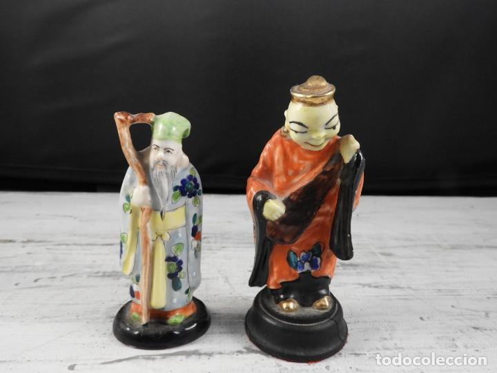Antigüedades: PAREJA DE ANTIGUAS FIGURAS DE PORCELANA CHINA - Foto 10 - 191642457